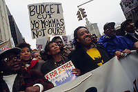 (0211205-SWR04.jpg) New York, NY -- 4 Apr 95 -- The Reverend Al Sharpton and Hazel Dukes leadmembers of  Local 1199, the  Health and Hosptial Workers Union, down Broadway for a budget Cuts protest...© Stacy Walsh