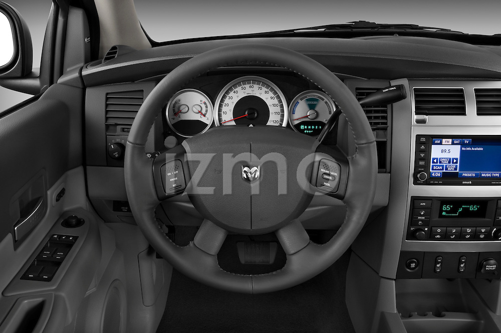 Steering wheel view of a 2009 Dodge Durango Hybrid