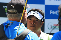 Kiradech Aphibarnrat (THA) in an interview during the Matchplay rounds of the ISPS Handa World Super 6 Perth at Lake Karrinyup Country Club on the Sunday 11th February 2018.<br /> Picture:  Thos Caffrey / www.golffile.ie<br /> <br /> All photo usage must carry mandatory copyright credit (&copy; Golffile   Thos Caffrey)