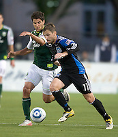 Bobby Convey of Earthquakes controls the ball away from Sal Zizzo of Timbers during the game at Buck Shaw Stadium in Santa Clara, California on August 6th, 2011.   San Jose Earthquakes and Portland Timbers tied 1-1.