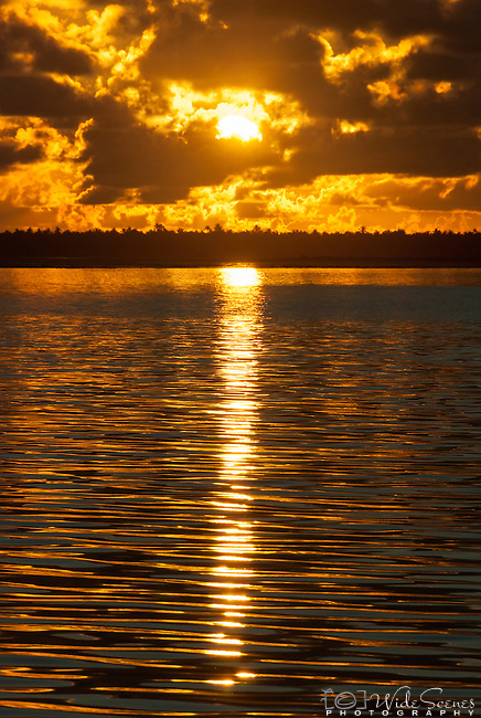Sunrise over the lagoon on the island of Kiritimati in Kiribati