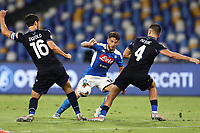 Dries Mertens of SSC Napoli and Marco Parolo of SS Lazio compete for the ball<br /> during the Serie A football match between SSC  Napoli and SS Lazio at stadio San Paolo in Naples ( Italy ), August 01st, 2020. Play resumes behind closed doors following the outbreak of the coronavirus disease. <br /> Photo Cesare Purini / Insidefoto