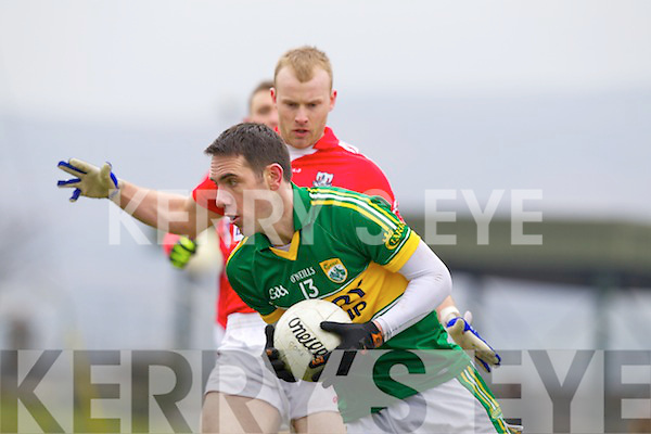 Declan O'Sullivan Kerry in action against Michael Shields Cork in the National Football League at Austin Stack park, Tralee on Sunday.