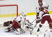 Lindsay Berman (NU - 13), Laura Bellamy (Harvard - 1), Josephine Pucci (Harvard - 2), Jillian Dempsey (Harvard - 14) - The Harvard University Crimson defeated the Northeastern University Huskies 1-0 to win the 2010 Beanpot on Tuesday, February 9, 2010, at the Bright Hockey Center in Cambridge, Massachusetts.