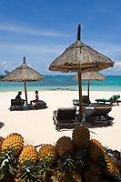 MUS, Mauritius, Poste de Flacq, Belle Mare Plage Resort: Strand, Ananas | MUS, Mauritius, Poste de Flacq, Belle Mare Plage Resort: beach, pineapple