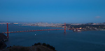 """Sailing the Bay"" Golden Gate Bridge and San Francisco.  The sun is just setting on the Bridge with San Francisco and the entire Bay in the background.  In these 4 images of the sunset and twilight over the area you can see all of the lights that surround both SF Bay and the East Bay, both downtown SF and downtown Oakland, the Golden Gate Bridge and the Bay Bridge. Some have Alcatraz Island, Ellis Island, sailboats in the bay and airplanes flying overhead. Day or night, sunrise or sunset this is some of the most beautiful scenery in all of California if not the world."