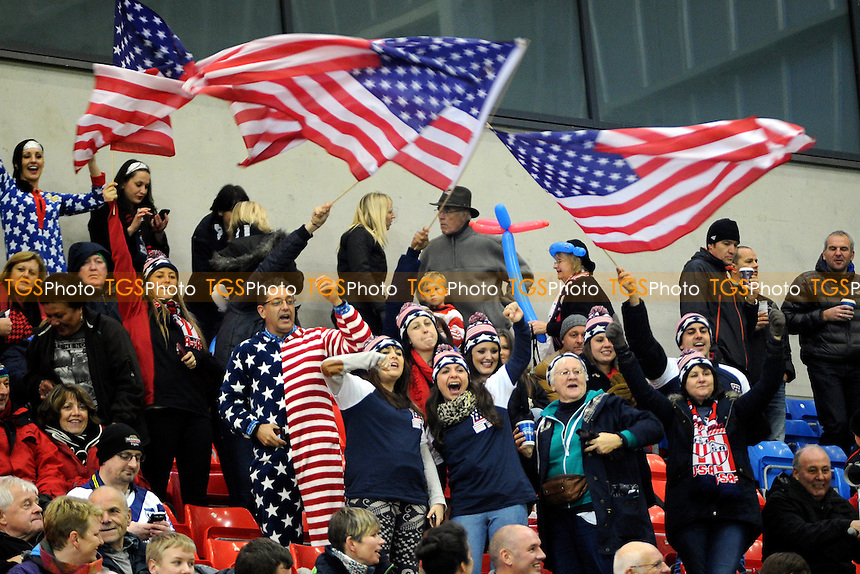 US Tomahawks fans in the crowd - Scotland vs USA - Rugby League World Cup 2013 Group C/D at Salford City Stadium, Eccles, Greater Manchester - 07/11/13 - MANDATORY CREDIT: Greig Bertram/TGSPHOTO - Self billing applies where appropriate - 0845 094 6026 - contact@tgsphoto.co.uk - NO UNPAID USE