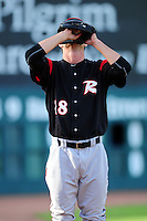 Tyler Beede (18) of the Richmond Flying Squirrels preps to warm up in the bullpen prior to a game versus the New Hampshire Fisher Cats at Northeast Delta Dental Stadium on June 5, 2015 in Manchester, New Hampshire. (Ken Babbitt/Four Seam Images)