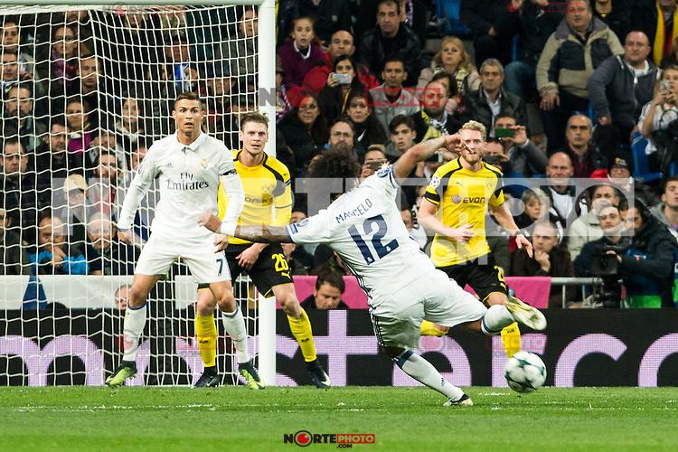 Real Madrid's Cristiano Ronaldo, Marcelo Vieira  during Champions League match between Real Madrid and Borussia Dortmund  at Santiago Bernabeu Stadium in Madrid , Spain. December 07, 2016. (ALTERPHOTOS/Rodrigo Jimenez) /NortePhoto.com