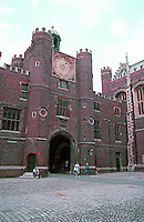 London: Hampton Court. Clock Court West Entrance from Base Court.