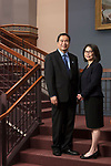 DePaul President A. Gabriel Esteban, Ph.D., is seen with his wife, Josephine, in a portrait in the Driehaus College of Business, Monday, Oct. 9, 2017, on the Loop campus. (DePaul University/Jeff Carrion)