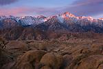 Sunrise on Lone Pine Peak in the High Sierra from Alabama Hills