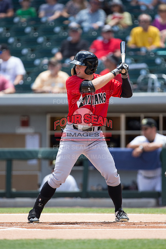 Austin Meadows (19) of the Indianapolis Indians at bat against the Charlotte Knights at BB&T BallPark on June 19, 2016 in Charlotte, North Carolina.  The Indians defeated the Knights 6-3.  (Brian Westerholt/Four Seam Images)