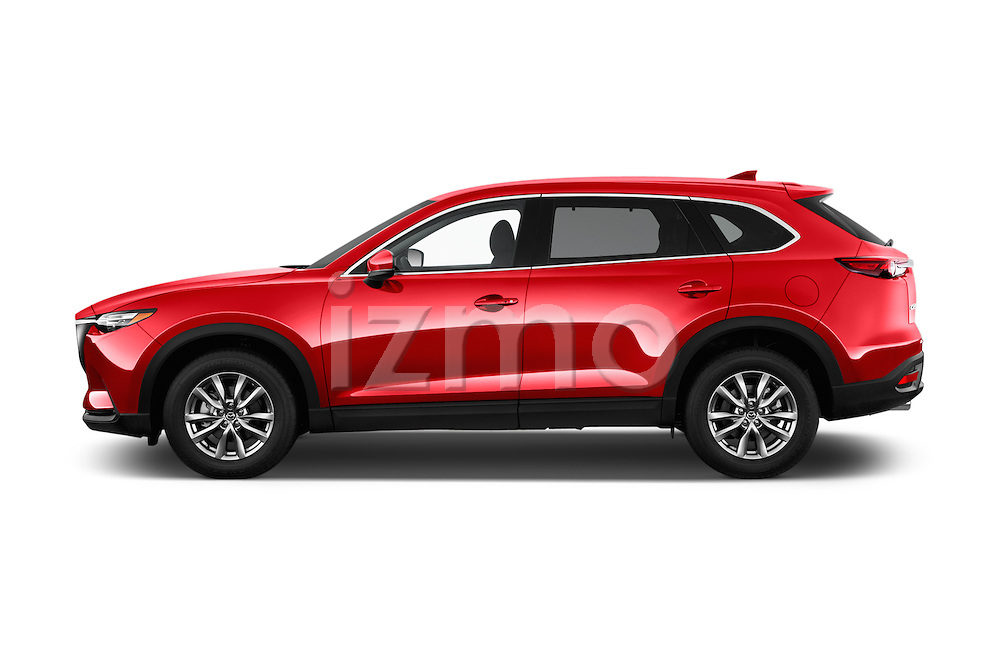 Car Driver side profile view of a 2018 Mazda CX-9 Touring-FWD 5 Door SUV Side View