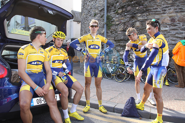 The South African MTN team relax in Waterford City at the end of Stage1 of the 2009 Tour of Ireland, running 196km from the Ritz-Carlton Hotel Powerscourt, Enniskerry to Waterford, Ireland. 21st August 2009.<br /> (Photo by Eoin Clarke/NEWSFILE)