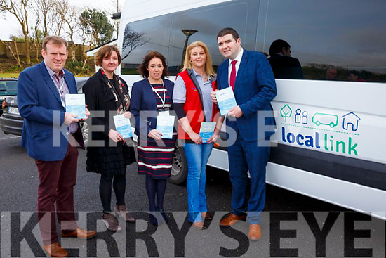 Pictured at the launch of the Kerry Local Link Bus service in Tech Amergin, Waterville on Monday were l-r; Alan O'Connell(Operations Manager-Local Link Kerry), Margaret Malone(National Transport Authority), Carmel Walsh(General Manager-Local Link Kerry), Fidelma McCarthy(Bus Operator-Local Link Kerry) & Minister of State for Tourism and Sport Mr Brendan Griffin.