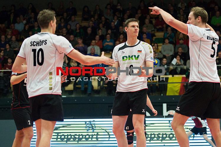29.12.2013, Lotto Dome, Maaseik<br /> Volleyball, Belgien vs. Deutschland<br /> <br /> Jubel Jochen Sch&ouml;ps / Schoeps (#10 GER), Marcus B&ouml;hme / Boehme (#8 GER), Sebastian K&uuml;hner / Kuehner (#5 GER)<br /> <br />   Foto &copy; nordphoto / Kurth