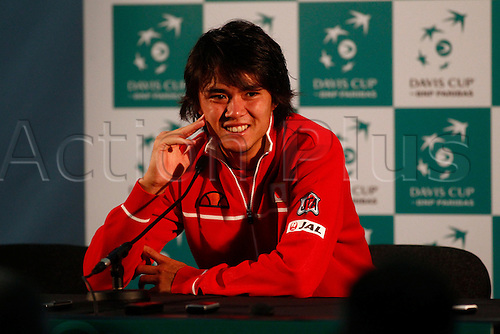 04.03.2016. Barclaycard Arena, Birmingham, England. Davis Cup Tennis World Group First Round. Great Britain versus Japan. Taro Daniel during his post match press conference afater his straight sets defeat by Andy Murray