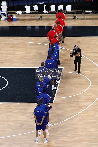 The GB team line up for the National Anthem. Great Britain v Croatia. The London International Basketball Invitational. London Prepares for Olympics 2012. Basketball Arena, Olympic Park. London. 17/08/2011. MANDATORY Credit Sportinpictures/Paul Chesterton - NO UNAUTHORISED USE - 07837 394578.