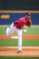 Pensacola Blue Wahoos pitcher Timothy Adleman (35) delivers a pitch during the first game of a double header against the Biloxi Shuckers on April 26, 2015 at Pensacola Bayfront Stadium in Pensacola, Florida.  Biloxi defeated Pensacola 2-1.  (Mike Janes/Four Seam Images)