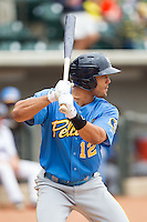 Zach Cone (12) of the Myrtle Beach Pelicans at bat against the Winston-Salem Dash at BB&T Ballpark on May 7, 2014 in Winston-Salem, North Carolina.  The Pelicans defeated the Dash 5-4 in 11 innings.  (Brian Westerholt/Four Seam Images)