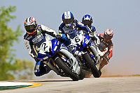 Dane Westby leads a pack of motorcycls over a hill during the AMA Superbike Showdown at Raod Atlanta on Saturday, April 17, 2010.  (Photo by Brian Cleary/www.bcpix.com)
