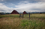 Idaho, eastern, Island Park. Barns of the historic Railroad Ranch at Harriman State Park.
