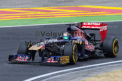 Red Bull F1 Formula One driver Sebastian Vettel of Germany drives his car during the qualifier of the Hungarian F1 Grand Prix in Mogyorod (about 20km north-east from capital city Budapest), Hungary on July 27, 2013. ATTILA VOLGYI