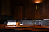 Christine Blasey Ford name tag is seen before the woman accusing Supreme Court nominee Brett Kavanaugh of sexually assaulting her at a party 36 years ago, testifies in front of the US Senate Judiciary Committee confirmation hearing on Capitol Hill in Washington, DC, September 27, 2018.  / AFP PHOTO / POOL / SAUL LOEB / AFP PHOTO / POOL / Saul LOEB