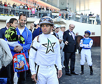 Jockey Javier Castellano in the paddock before the Wood Memorial at Aqueduct Racetrack in Ozone Park, New York on Wood Memorial Day on April 7, 2012