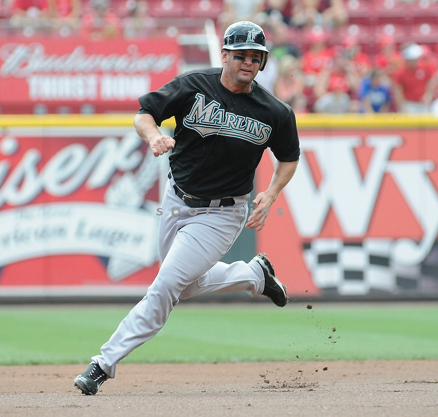GABY SANCHEZ, of  the Florida Marlins, in action during the Marlins game against the Cincinnati Reds at Great American Ball Park in Cincinnati, Ohio  on August 15, 2010.   Reds won the game 2-0...