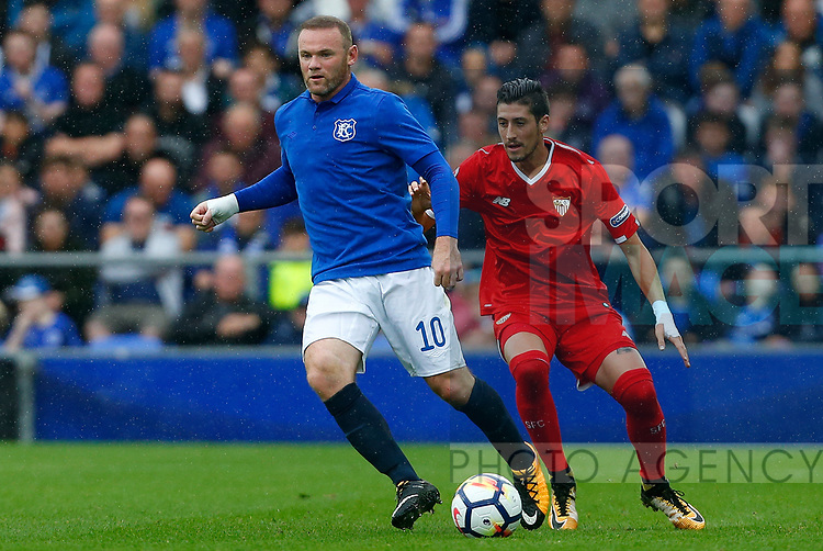 Everton's Wayne Rooney (L) in action during the pre season friendly match at Goodison Park Stadium, Liverpool. Picture date 6th August 2017. Picture credit should read: Paul Thomas/Sportimage