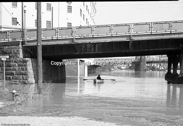 Pittsburgh PA:  Allegheny River flood waters along the North Side by the 7th Street Bridge and Sandusky Street - 1956.