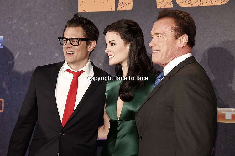 "Johnny Knoxville, Jaimie Alexander and Arnold Schwarzenegger attending the red carpet of ""The Last Stand"" premiere in the Astor Film Theater, Cologne, 21.01.2013...Credit: Tatiana Back/face to face"