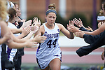 Casey Kotchenreuter (44) of the High Point Panthers high fives her teammates during player introductions prior to the match against the North Carolina Tar Heels at Vert Track, Soccer & Lacrosse Stadium on February 16, 2018 in High Point, North Carolina.  The Tar Heels defeated the Panthers 14-10.  (Brian Westerholt/Sports On Film)