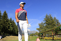Haydn Porteous (RSA) walks onto the 18th tee during Saturday's Round 3 of the 2018 Omega European Masters, held at the Golf Club Crans-Sur-Sierre, Crans Montana, Switzerland. 8th September 2018.<br /> Picture: Eoin Clarke | Golffile<br /> <br /> <br /> All photos usage must carry mandatory copyright credit (&copy; Golffile | Eoin Clarke)