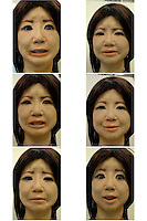 Some expressions of SAYA at the Tokyo Science University .The humanoid, which can talk and has unlimited facial expressions is being introduced as a teacher for primary schools children and just underwent a succesful pilot run at Kudan Primary in central Tokyo...photo by Richard Jones