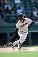 Center fielder Miguel Aparicio (5) of the Hickory Crawdads bats in a game against the Greenville Drive on Tuesday, April 30, 2019, at Fluor Field at the West End in Greenville, South Carolina. Hickory won, 5-4. (Tom Priddy/Four Seam Images)