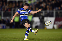 Freddie Burns of Bath Rugby kicks for the posts. Anglo-Welsh Cup match, between Bath Rugby and Leicester Tigers on November 10, 2017 at the Recreation Ground in Bath, England. Photo by: Patrick Khachfe / Onside Images