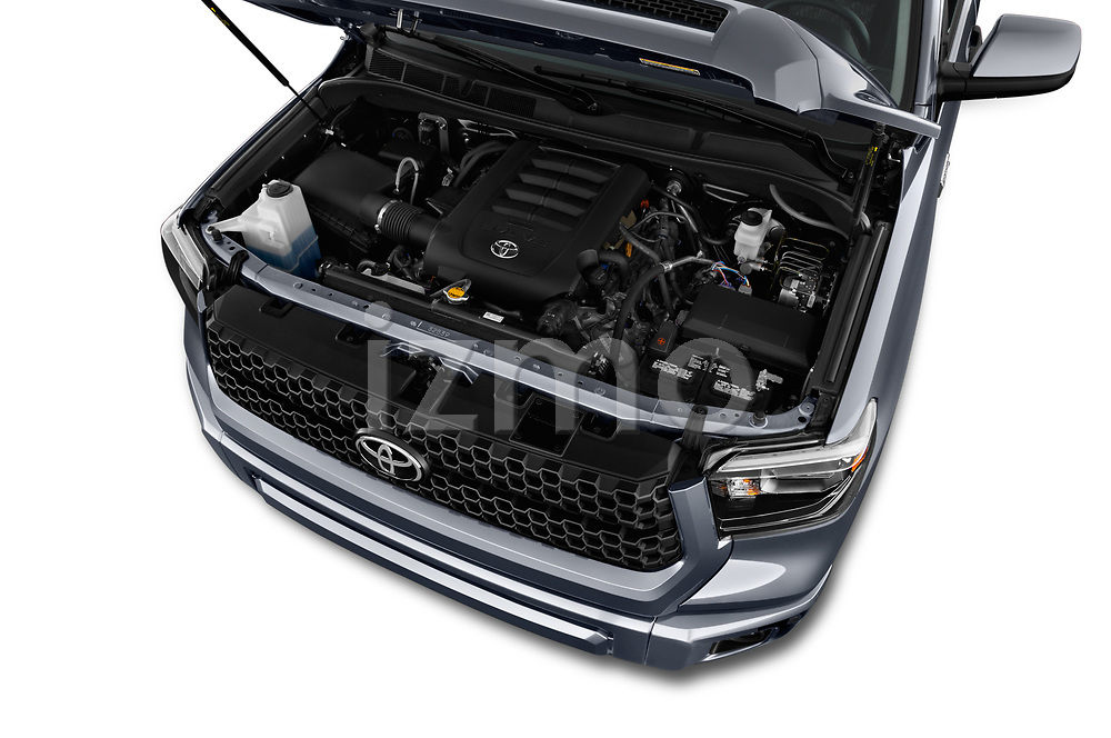 Car stock 2018 Toyota Tundra TRD Sport Crew 4 Door Pick Up engine high angle detail view