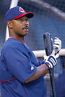 Ellis Burks of the Cleveland Indians before a 2002 MLB season game against the Los Angeles Angels at Angel Stadium, in Los Angeles, California. (Larry Goren/Four Seam Images)
