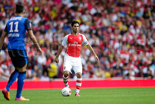 03.08.2014. London, England. Emirates Cup.  Arsenal versus AS Monaco.  Arsenal midfielder Mikel ARTETA in action.  With Monaco winning 0-1 and Valencia winning earlier in the day, Valencia won the tournament trophy.