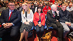© Joel Goodman - 07973 332324 . 28/09/2016 . Liverpool , UK . TOM WATSON , CAT SMITH , Jeremy Corbyn's wife LAURA ALVAREZ , JOHN MCDONNELL and TOMMY CORBYN sit for the Leader's Speech at the close of the final day of the Labour Party Conference at the ACC in Liverpool . Photo credit : Joel Goodman
