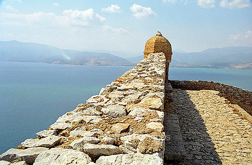 Palamidi fortress castle citadel wall and turet and the Aegean sea in Nafplion on the Peloponnese Greece Europe