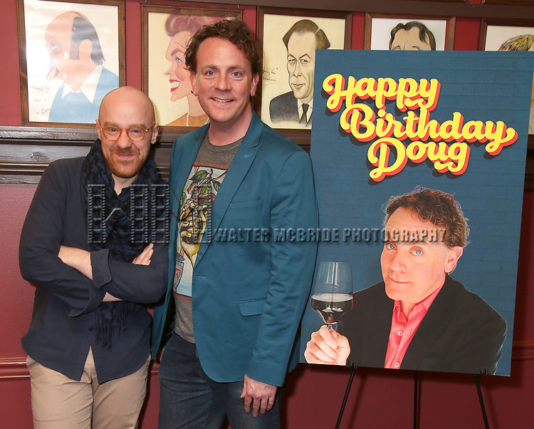 """Tom De Trinis and Drew Droege During the """"Happy Birthday Doug"""" photo call at Sardi's Restaurant on February 5, 2020 in New York City."""