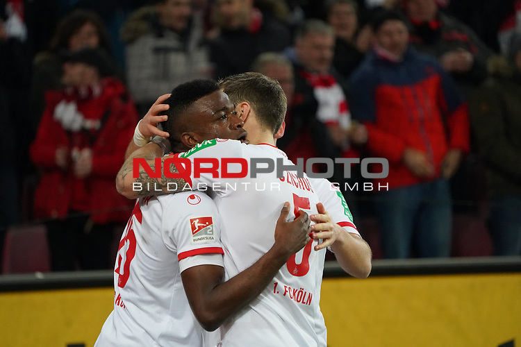 08.02.2019, RheinEnergieStadion, Koeln, GER, 2. FBL, 1.FC Koeln vs. FC St. Pauli,<br />  <br /> DFL regulations prohibit any use of photographs as image sequences and/or quasi-video<br /> <br /> im Bild / picture shows: <br /> Jhon Córdoba (FC Koeln #15),   Torjubel / Jubel / Jubellauf,    mit Rafael Czichos (FC Koeln #5),   <br /> Foto © nordphoto / Meuter