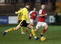 Oxford United's Rob Dickie under pressure from Fleetwood Town's Paddy Madden<br /> <br /> Photographer Rich Linley/CameraSport<br /> <br /> The EFL Sky Bet League One - Fleetwood Town v Oxford United - Saturday 12th January 2019 - Highbury Stadium - Fleetwood<br /> <br /> World Copyright &copy; 2019 CameraSport. All rights reserved. 43 Linden Ave. Countesthorpe. Leicester. England. LE8 5PG - Tel: +44 (0) 116 277 4147 - admin@camerasport.com - www.camerasport.com