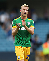 Preston North End's Jayden Stockley applauds the Preston fans at the end of the game<br /> <br /> Photographer Rob Newell/CameraSport<br /> <br /> The EFL Sky Bet Championship - Millwall v Preston North End - Saturday 3rd August 2019 - The Den - London<br /> <br /> World Copyright © 2019 CameraSport. All rights reserved. 43 Linden Ave. Countesthorpe. Leicester. England. LE8 5PG - Tel: +44 (0) 116 277 4147 - admin@camerasport.com - www.camerasport.com