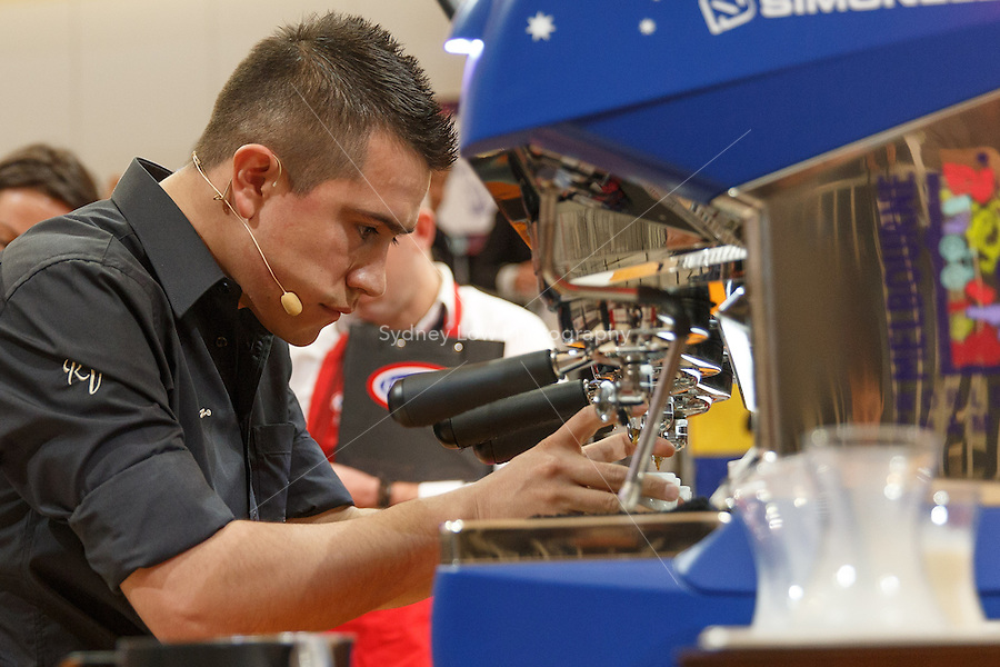 MELBOURNE, AUSTRALIA - MAY 23 Ronal Harvey Valero Balaguera from Colombia in action on day one of the 2013 World Barista Championship at the Melbourne Showgrounds, Australia. Photo Sydney Low / syd-low.com