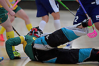 Australia&rsquo;s Sarah Moulton in action during the World Floorball Championships 2017 Qualification for Asia Oceania Region Final - Australia v Japan at ASB Sports Centre , Wellington, New Zealand on Sunday 5 February 2017.<br /> Photo by Masanori Udagawa<br /> www.photowellington.photoshelter.com.